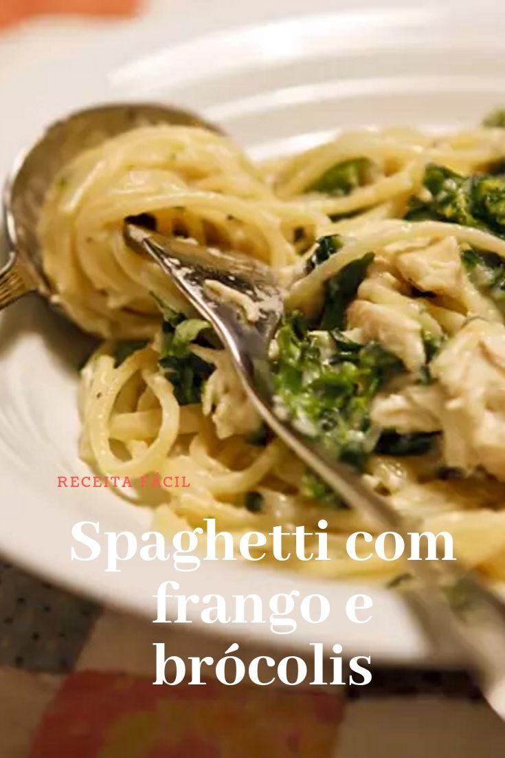 Spaghetti com frango e brócolis