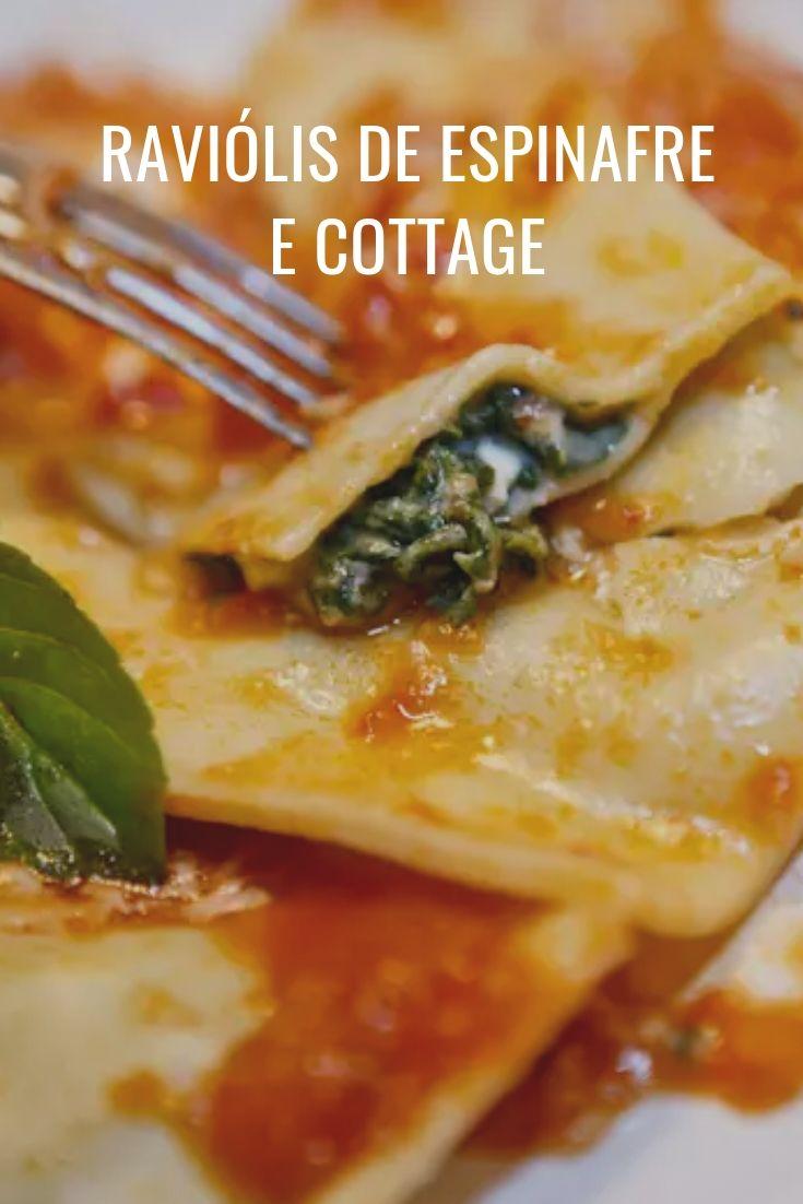 Raviólis de espinafre com cottage